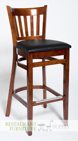 Vertical Slat Wood Barstool