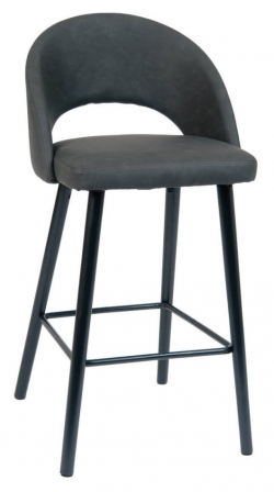 Magnificent Dark Grey Vinyl Bar Stool With Black Beechwood Legs Uwap Interior Chair Design Uwaporg
