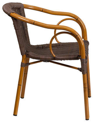 Aluminum Bamboo Patio Chair With Dark Brown Rattan And Cherry Frame Finish Rfs 743110 2