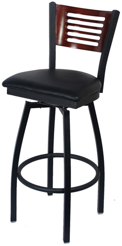 Swivel Bar Stool With A Wood Back 5 Slats