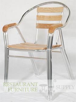 Aluminum Amp Wood Double Tube Patio Chair