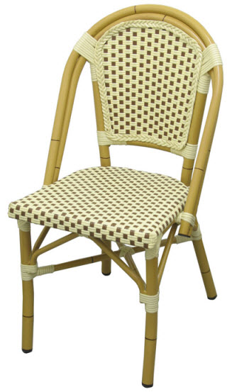 Aluminum Bamboo Patio Chair With Brown White Rattan Rfs 138