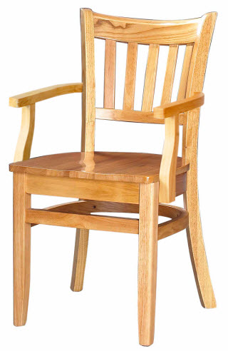 Vertical Slat Wood Chair With Arms