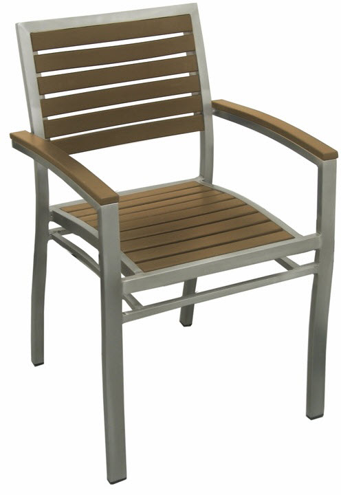 Aluminum Patio Arm Chair With Plastic Teak Rfs Dc 8462 Tk