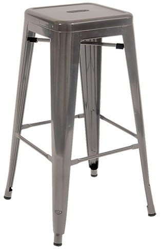 Bistro Style Metal Backless Bar Stool In Clear Finish Rfs Erat 21 Bs Cl