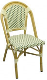 Aluminum Bamboo Patio Chair with Green & White Rattan