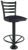 Ladder Back Bolt Down Metal Swivel Bar Stool