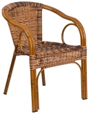 Aluminum Bamboo Patio Chair with Cherry Rattan and Cherry Frame Finish