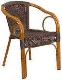 Aluminum Bamboo Patio Chair with Dark Brown Rattan and Cherry Frame Finish