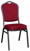 Metal Stack Chair - Silver Vein Frame with Dark Red Fabric