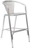 Aluminum Sandblasted Patio Bar Stool with Arms