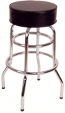 Chrome Backless Swivel Barstool with a Single/Double Ring