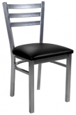 Light Silver Metal Ladder Back Chair with 3 Slats